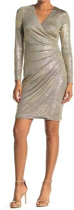 Calvin Klein Metallic Ruched Surplice Long Sleeve Sheath Dress