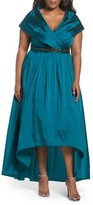 Adrianna Papell Plus Size Women's Embellished Portrait Collar Taffeta Gown
