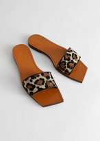 And other stories Leather Square Toe Slip On Sandals