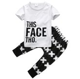 Magical Baby Little Boys Short Sleeve Letters Print T-shirt and Cross Pants Outfit