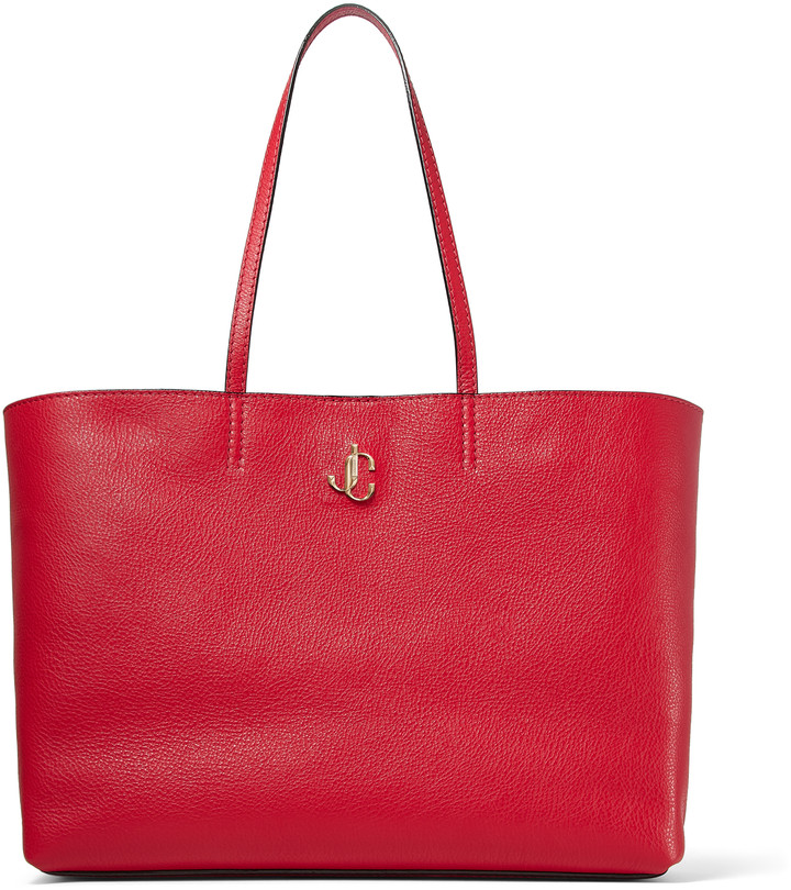 Jimmy Choo NINE2FIVE E/W Royal Red Grainy Calf Tote Bag with JC Logo