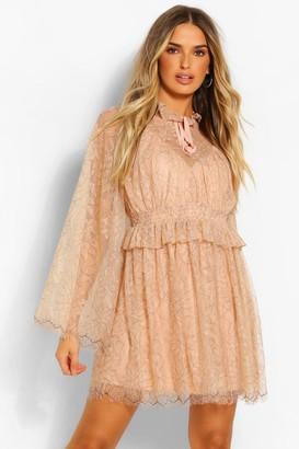 boohoo High Neck Ruffle Lace Detail Skater Dress