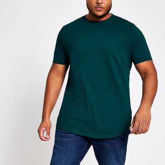 River Island Big and Tall teal curve hem T-shirt