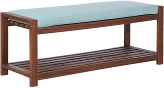 Hewson Outdoor Patio Acacia Wood Bench With Cushion