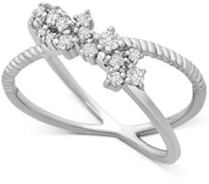 Macy's Diamond Cluster Crissross Cluster Ring (1/4 ct. t.w.) in 10k White Gold