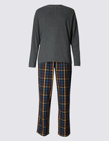 Marks And Spencer Pure Cotton Checked Pyjamas With Staysofttm