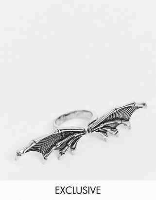 Reclaimed Vintage inspired dragon wing ring in burnished silver