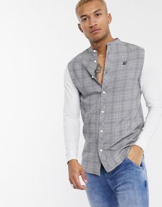 SikSilk prince of wales check grandad collar shirt