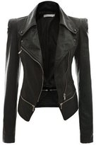 LuShmily Womens Winter Faux Leather Power Shoulder Jacket M