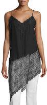 Haute Hippie Lace-Inset Silk Asymmetric Camisole, Black