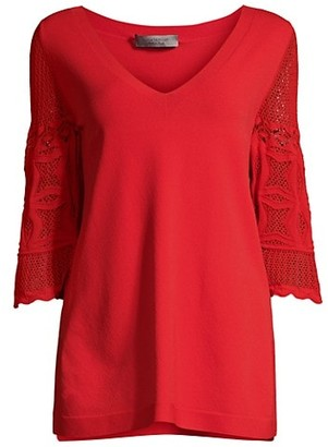 D-Exterior Lace Sleeve Knit Tunic