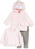 Nannette Baby Girls' 3-Pc. Faux Fur Bear Hoodie, Top & Velour Leggings Set