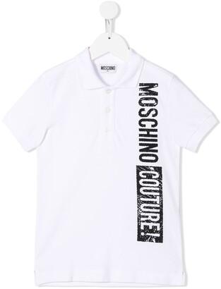 Moschino Kids logo print polo shirt