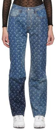 Marine Serre Blue Regenerated Allover Moon Jeans