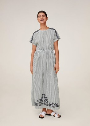 MANGO Embroidered long dress