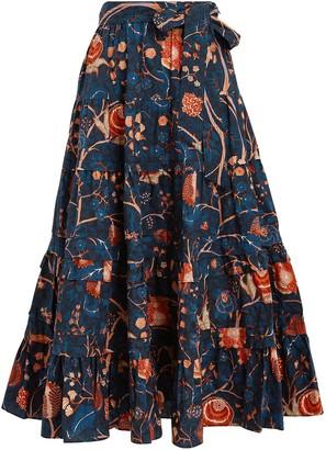 Ulla Johnson Sigrid Floral Poplin Midi Skirt