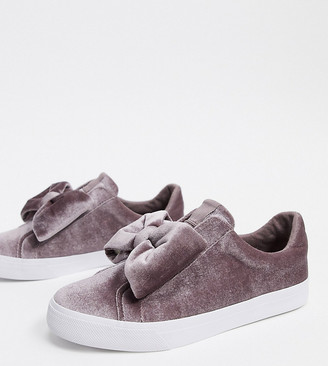 Dekker ASOS DESIGN Wide Fit bow slip on sneakers in gray