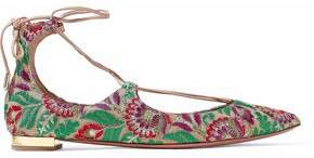 Aquazzura Lace-Up Leather-Trimmed Embroidered Canvas Point-Toe Flats