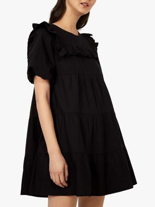 Warehouse Ruffle Bib Mini Dress, Black