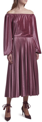 Valentino Off-the-Shoulder Pleated Velvet Dress