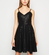 New Look Sequin Strappy Skater Dress