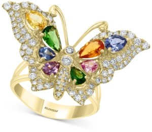 Effy Multi-Gemstone (2-1/3 ct. t.w.) & Diamond (3/4 ct. t.w.) Butterfly Ring in 14k Gold