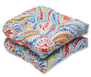 Pillow Perfect Ummi Multi Wicker Seat Cushion, Set of 2