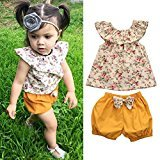AMA(TM) Toddler Kids Baby Girls Floral Sleeveless T-shirt +Bow Shorts Pants Outfits Clothes Set (12M, Multicolor)