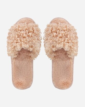 Express Memoi C'Est Bon Faux Fur Plush Slippers
