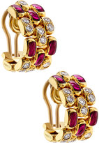 Chopard 18k Diamond & Ruby Half-Hoop Clip Earrings