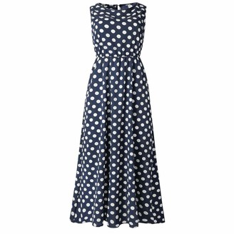 Zerototens Women Dress Zerototens Women's Vintage Retro 1940S Polka Dot Printed High Waisted Sleeveless Crewneck Cocktail Swing Party Beach Dress Ladies Summer Sundress Coffee