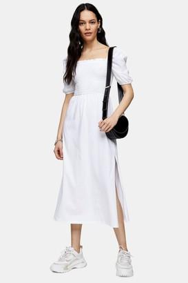 Topshop White Shirred Midi Dress