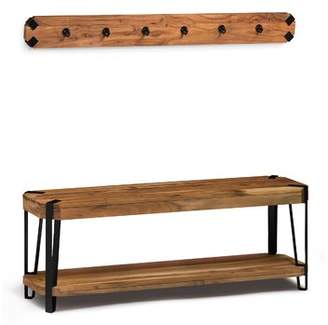 Union Rustic Tindal Wood Storage Bench with Coat Hook Set Hall Tree Union Rustic