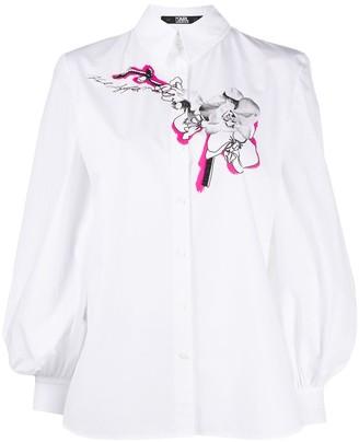 Karl Lagerfeld Paris Bell Sleeve Floral Print Shirt