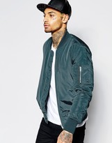 Asos Bomber Jacket With MA1 Pocket In Teal