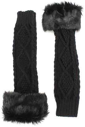 Sanwood Women's Winter Wrist Arm Warmer Knit Fingerless Long Gloves Black