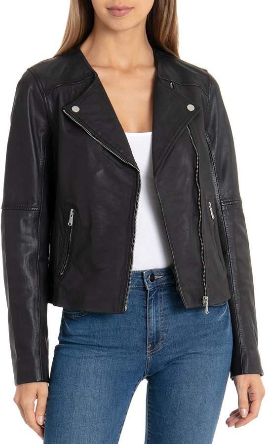 bb089f58a Collarless Smooth Lamb LeatherBiker Jacket