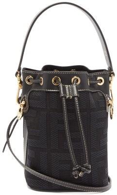 Fendi Mon Tresor Mini Ff Logo-jacquard Bucket Bag - Black Multi