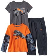 Puma Toddler Boy Logo Mock-Layered Long Sleeve & Short Sleeve Tees & Pants Set