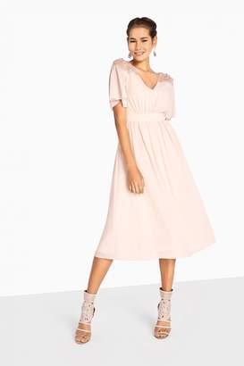 Little Mistress Lacey Pearl Angel Sleeve Midi Dress