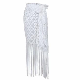 Baojunht Swimsuit Tassels Sarong Bikini Lace Cover up Fringed Wrap Beachwear Skirt Summer Beach Blanket Holidays Large Smock Scarf BaojunHT (White Free Size)