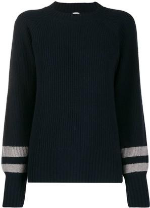 Eleventy ribbed stripe-cuff sweater