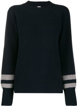 Eleventy Ribbed Stripe-Cuff Sweater