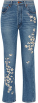 Bliss and Mischief - Chamomile Embroidered High-rise Straight-leg Jeans - Mid denim