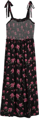 Angie Tie Strap Floral Maxi Dress (Plus Size)