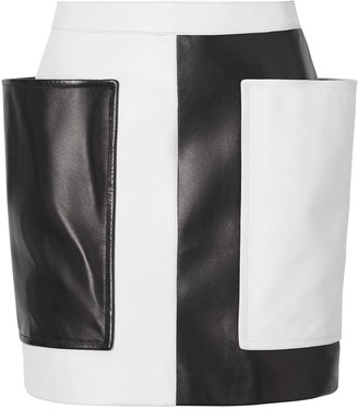 Burberry Pocket Detail Two-tone Lambskin Mini Skirt