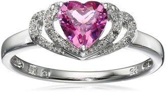 Amazon Collection Sterling Silver Created-Pink-Tourmaline and Diamond Accent Open Halo Heart Ring Size 7