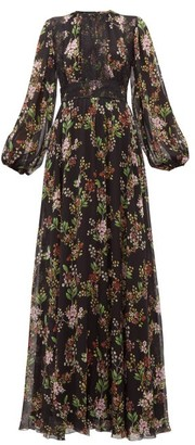 Giambattista Valli Lace-panelled Floral-print Silk-georgette Dress - Womens - Black Multi