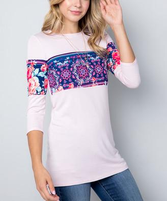 Celeste Women's Tunics IVORY - White & Blue Floral Geometric Color Block Crewneck Top - Women & Plus