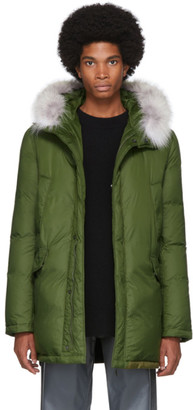 Yves Salomon Army Army Green Down and Fur Parka